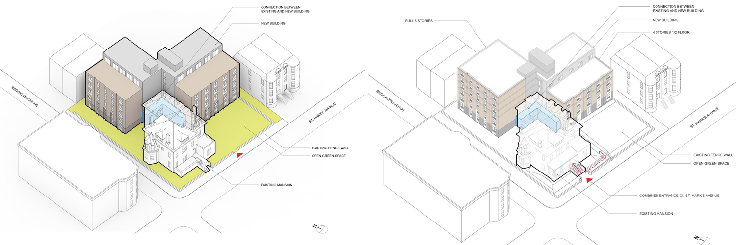 Proposals for 839 St. Marks Avenue, March 22 (left) and April 12 (right)