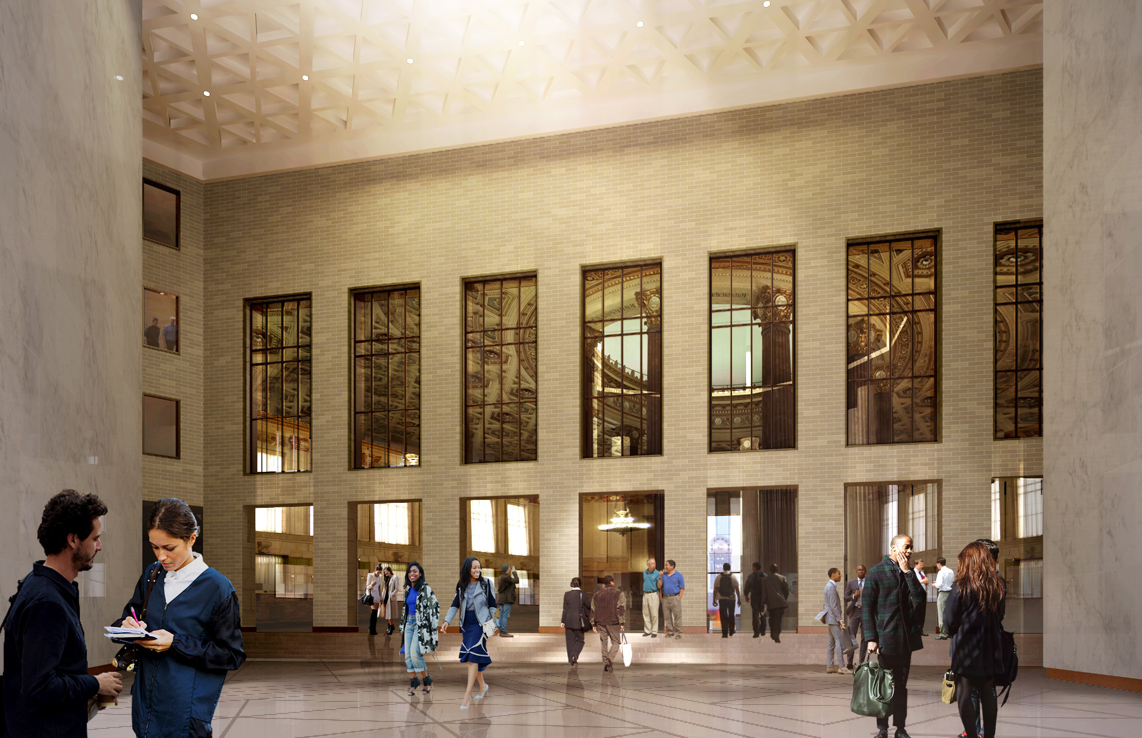 Rendering of the former Dime Savings Bank at 9 DeKalb Avenue as seen from the atrium at 340 Flatbush Avenue Extension. Credit: SHoP