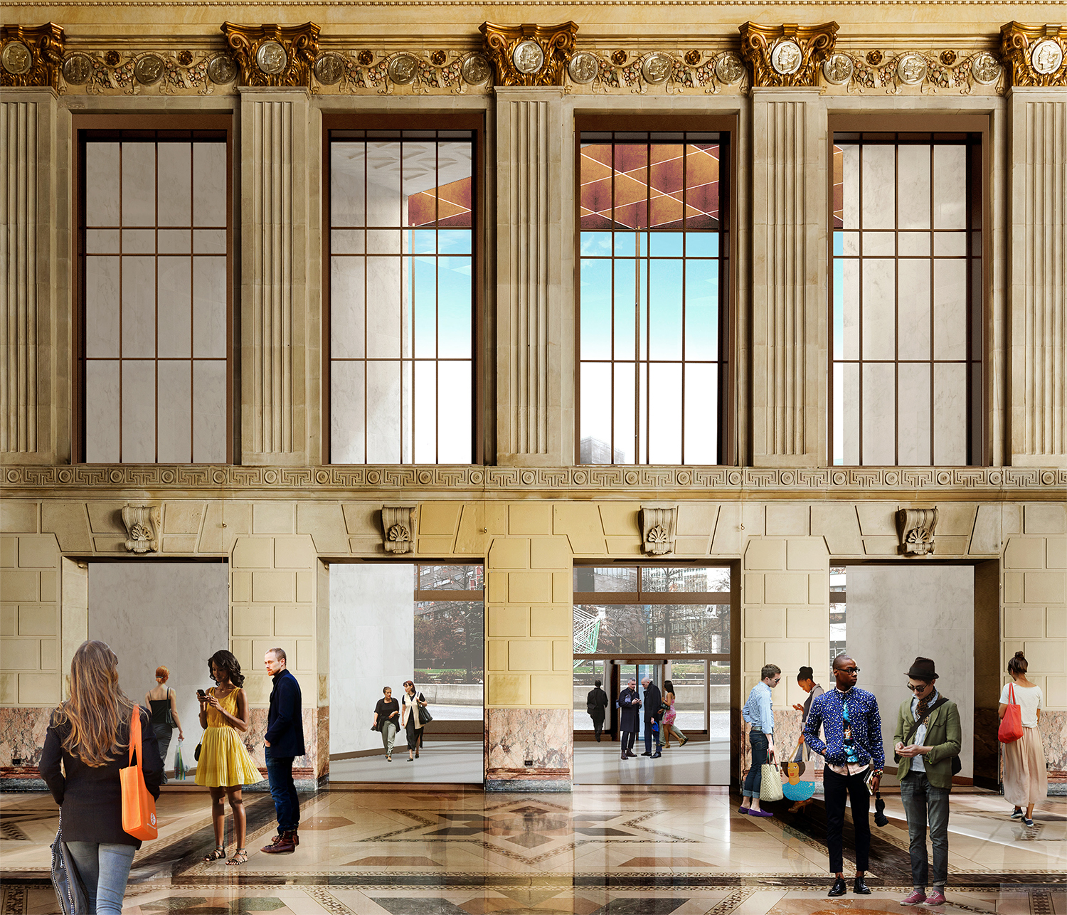 Rendering of the view from the Dime Savings Bank at 9 DeKalb Avenue looking to the atrium of 340 Flatbush Avenue Extension. Credit: SHoP
