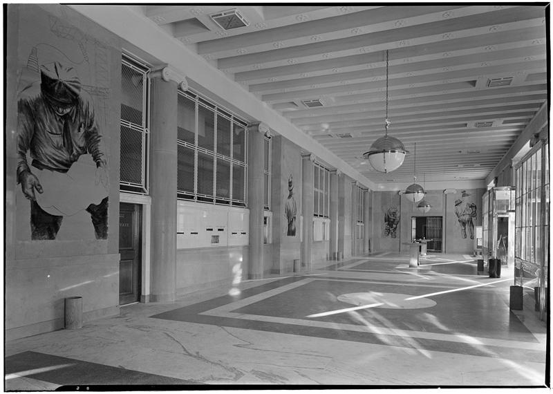 Bronx General Post Office main hall, 1938. Credit: Museum of the City of New York via LPC