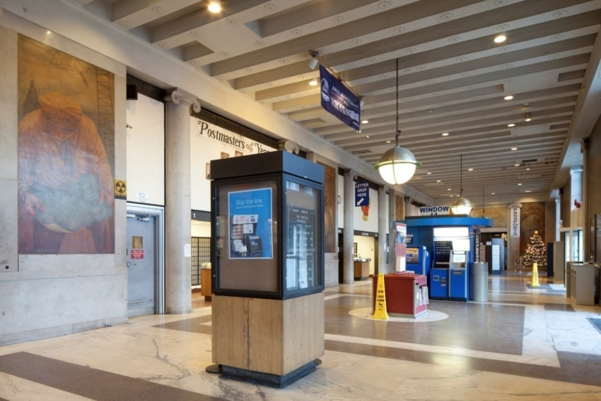Bronx General Post Office main hall, 2013. Credit: LPC