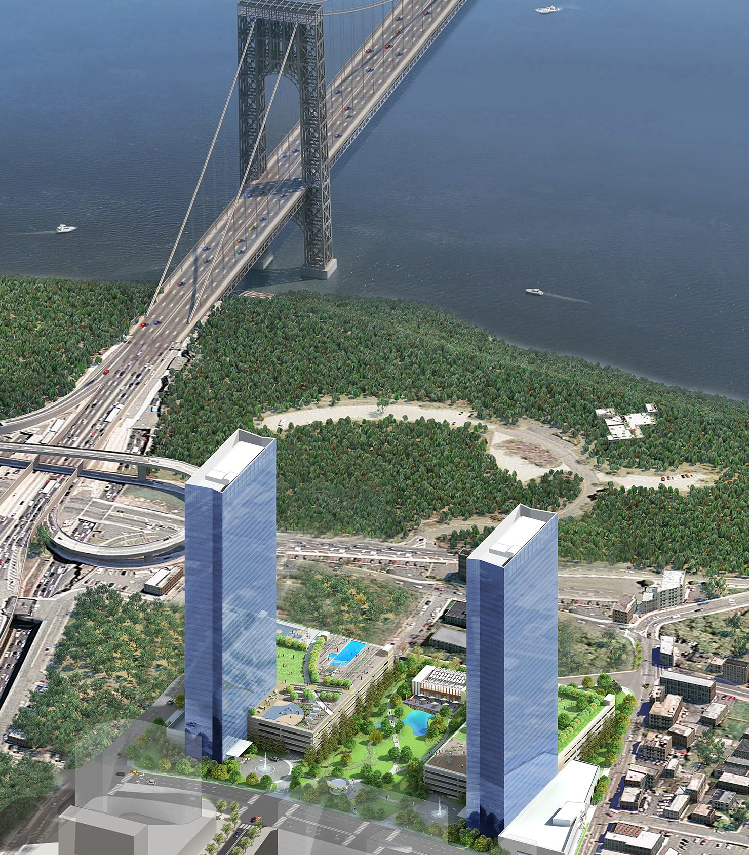 Rendering of both towers of The Modern in Fort Lee, NJ. Via SJP Properties.