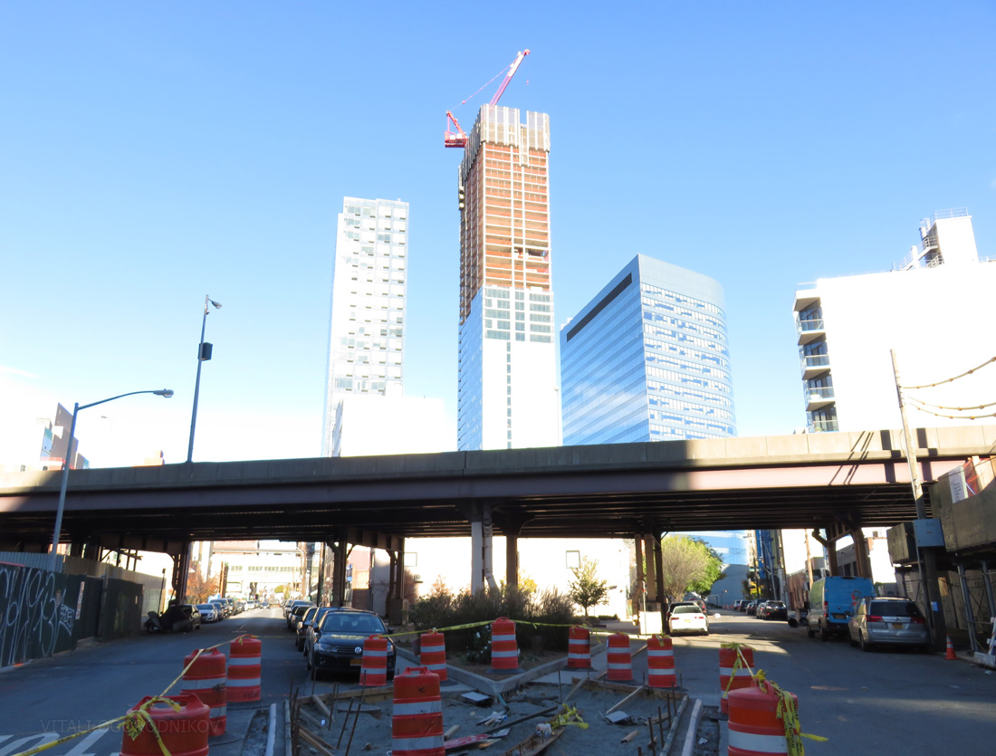 Street improvements in November 2015. Tower 28 under construction in the background.