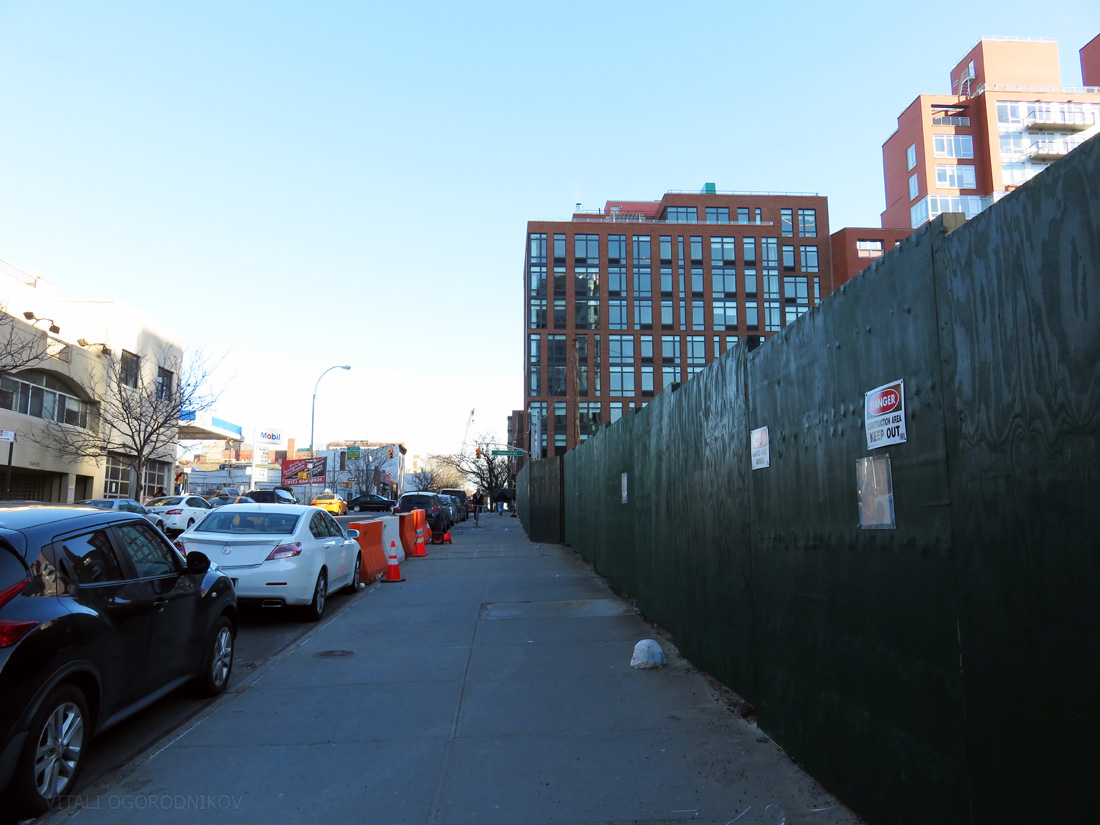 41st Avenue, looking southeast, with 41-07 Crescent Street in the background center