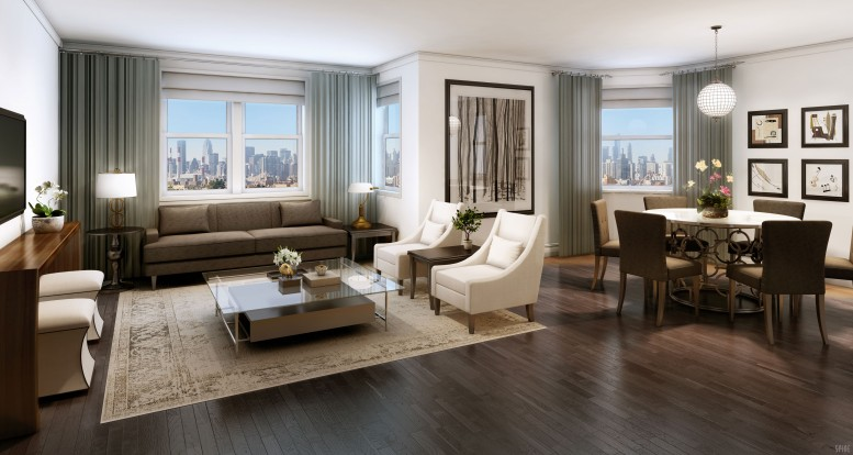 A rendering of a living room at Washington Plaza. Via Delta Management