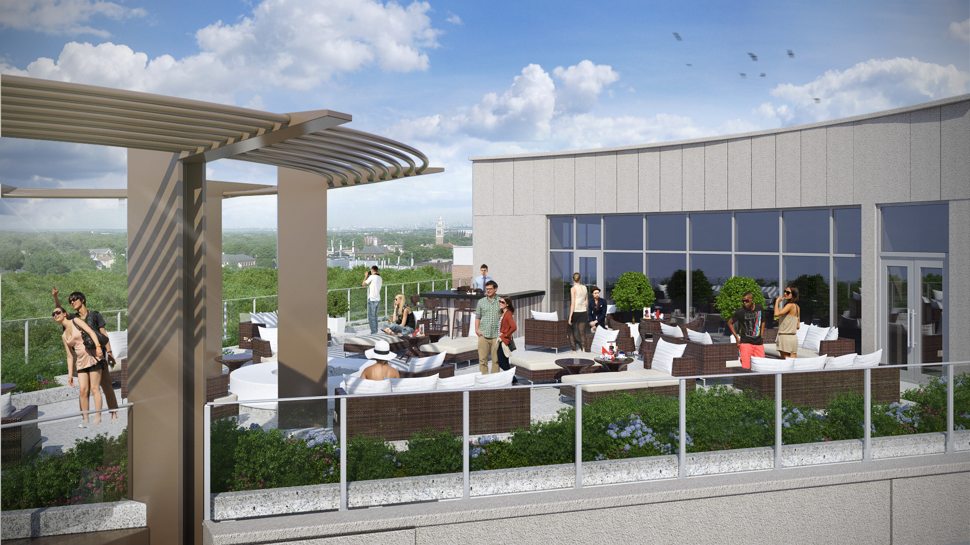 Rendering of the east view from the rooftop bar at The MC hotel in Montclair. Credit: BOGZA