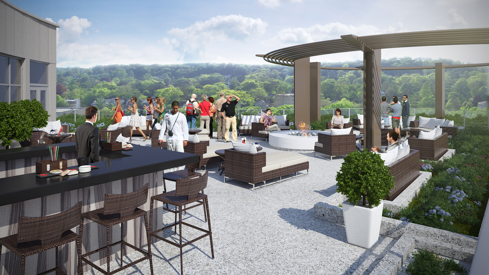 Rendering of the west view from the rooftop bar at The MC hotel in Montclair. Credit: BOGZA
