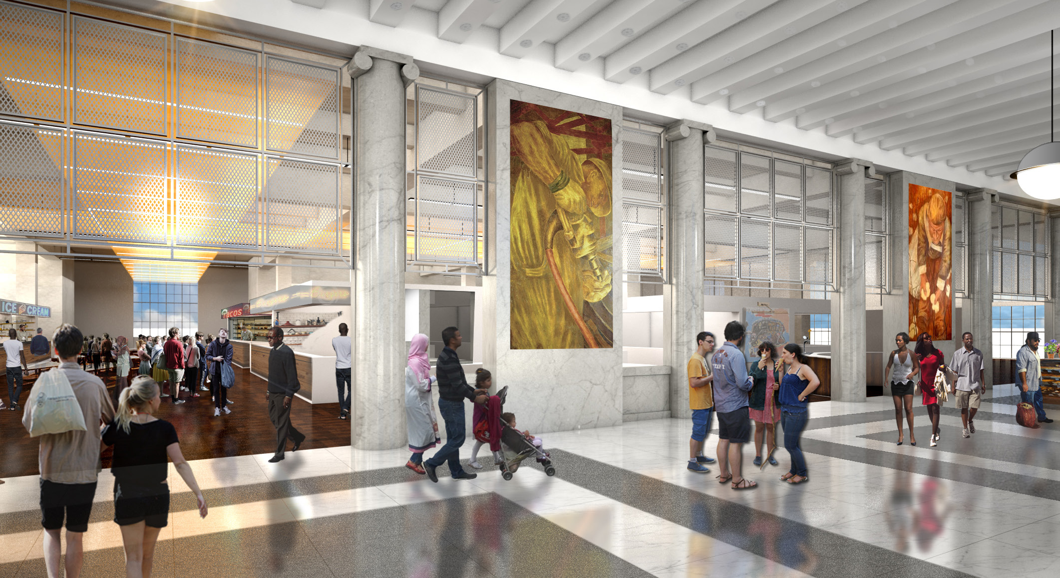 Rendering of the Bronx General Post Office's main hall. Credit: Studio V Architecture