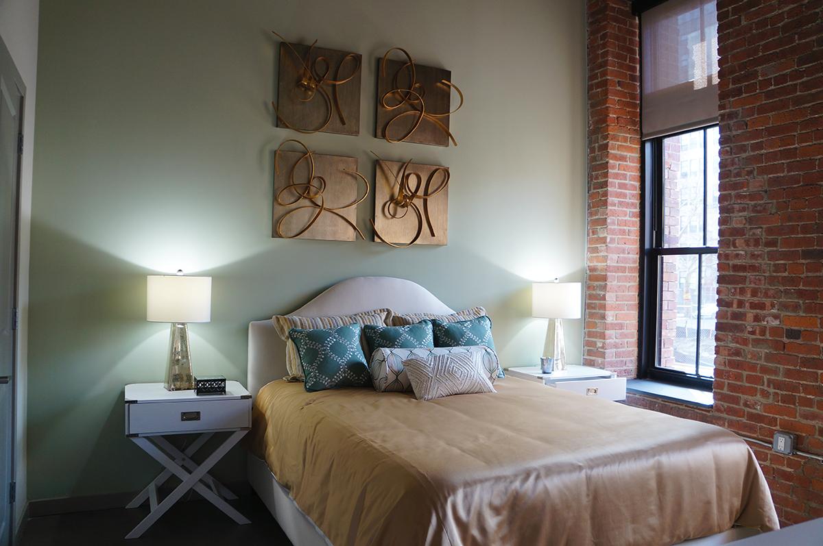 A bedroom at Modera Lofts.