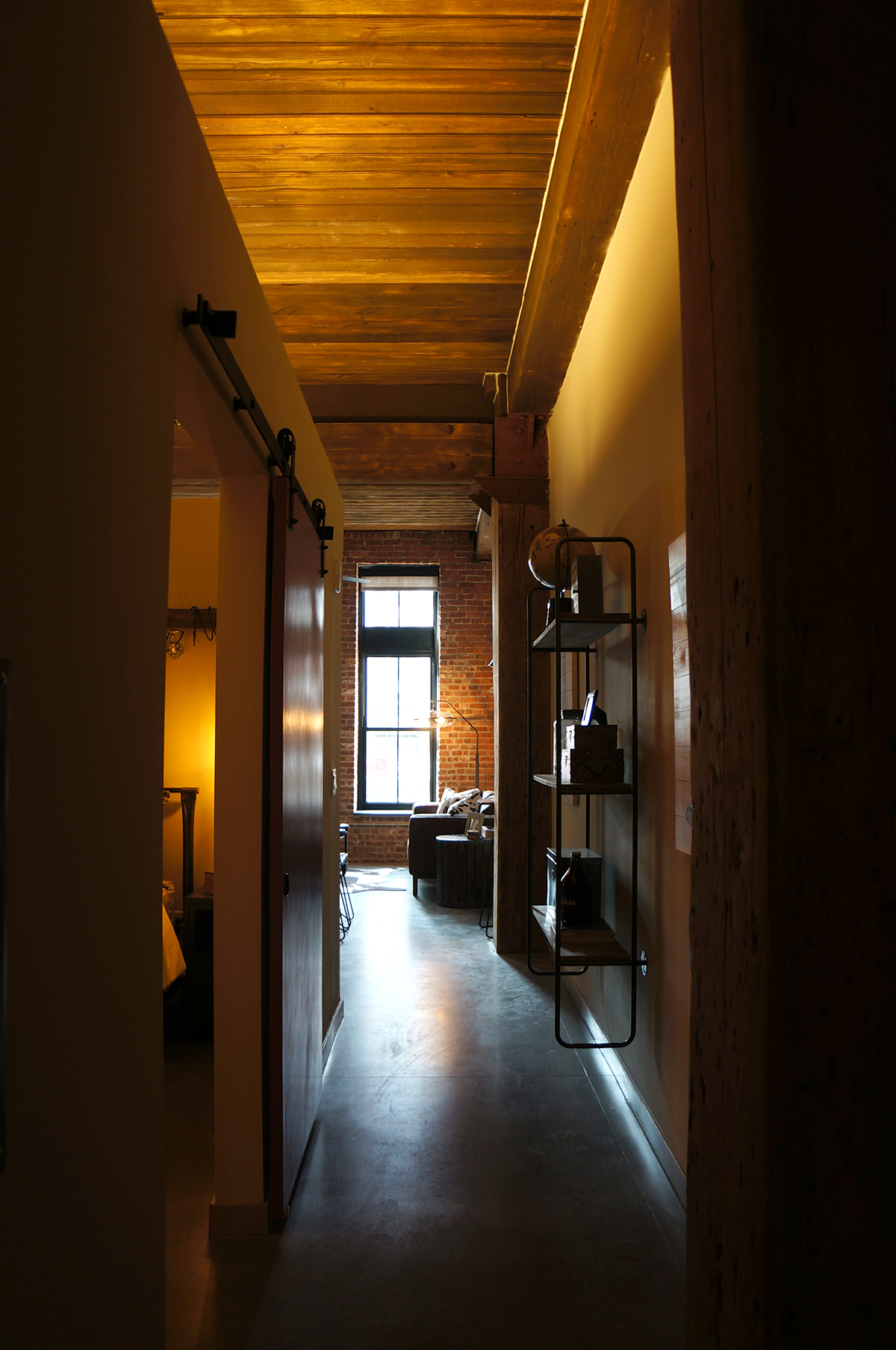 The hallway in a one-bedroom.