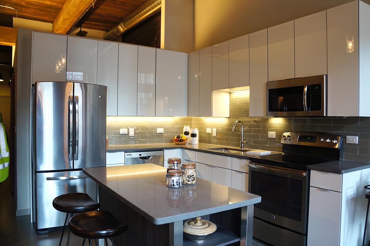 A kitchen at Modera Lofts.