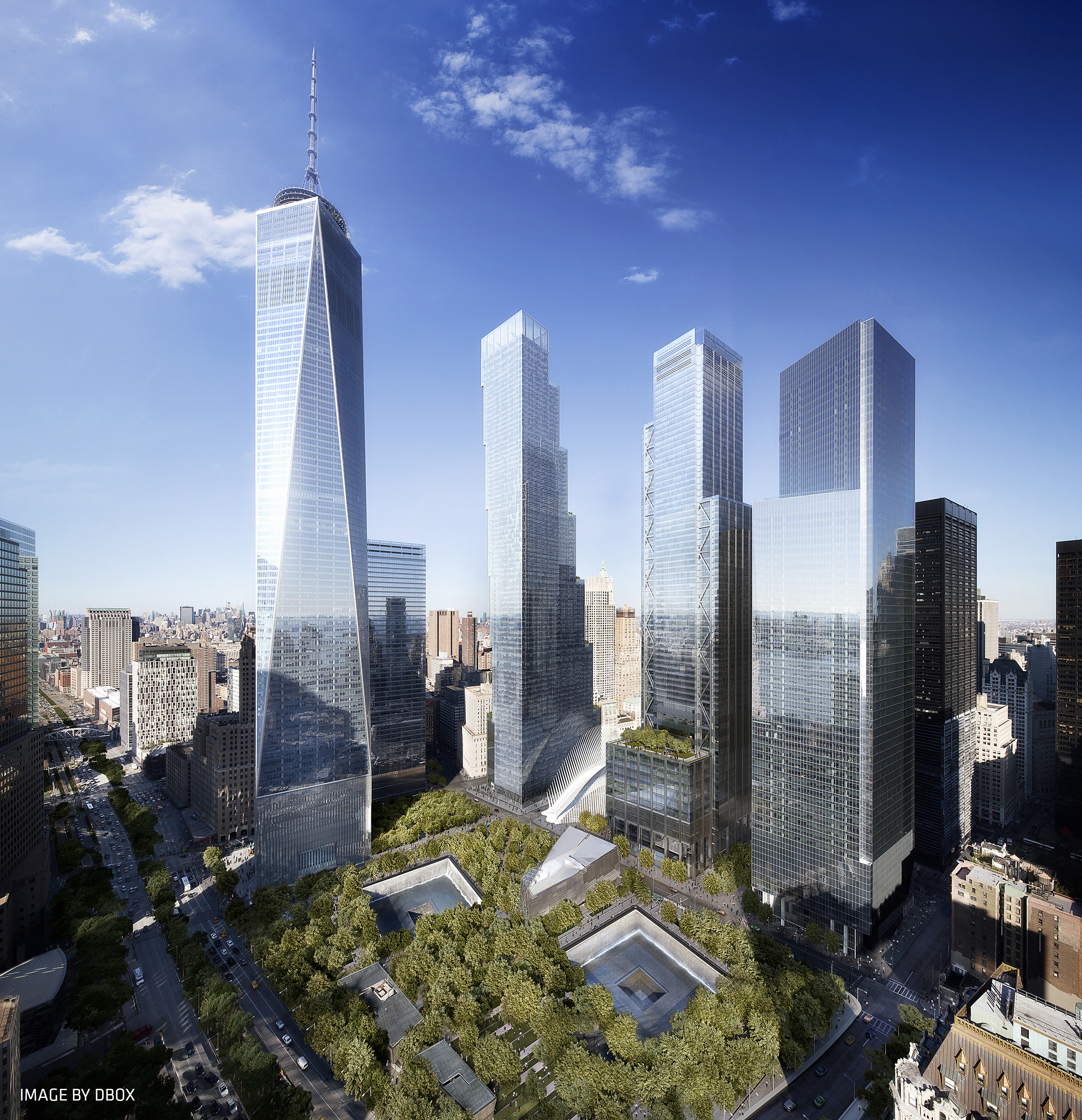 Rendering of the completed office towers of the World Trade Center. Credit: DBOX