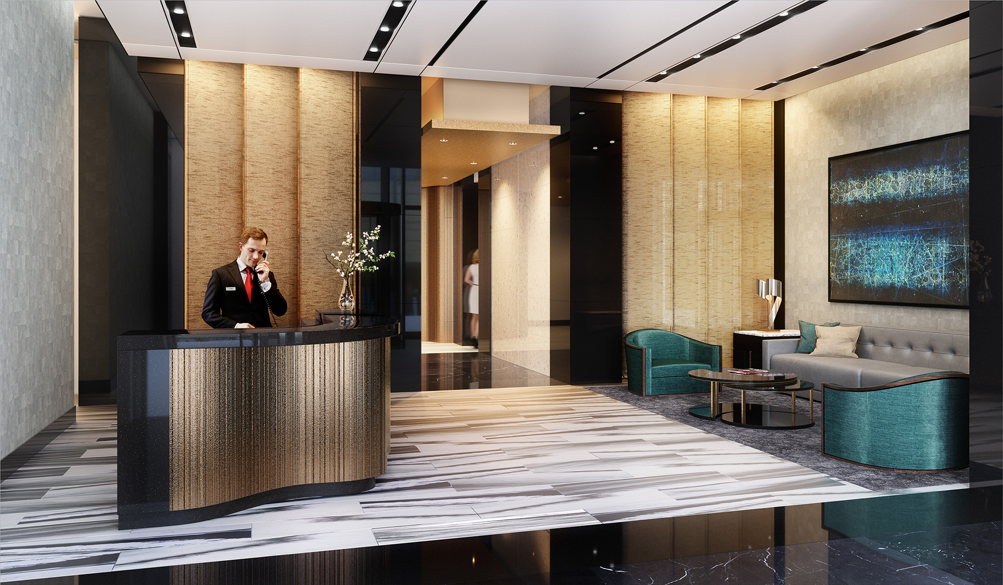 Rendering of the updated lobby for Manhattan View at MiMA, 460 West 42nd Street. Credit: Word Search