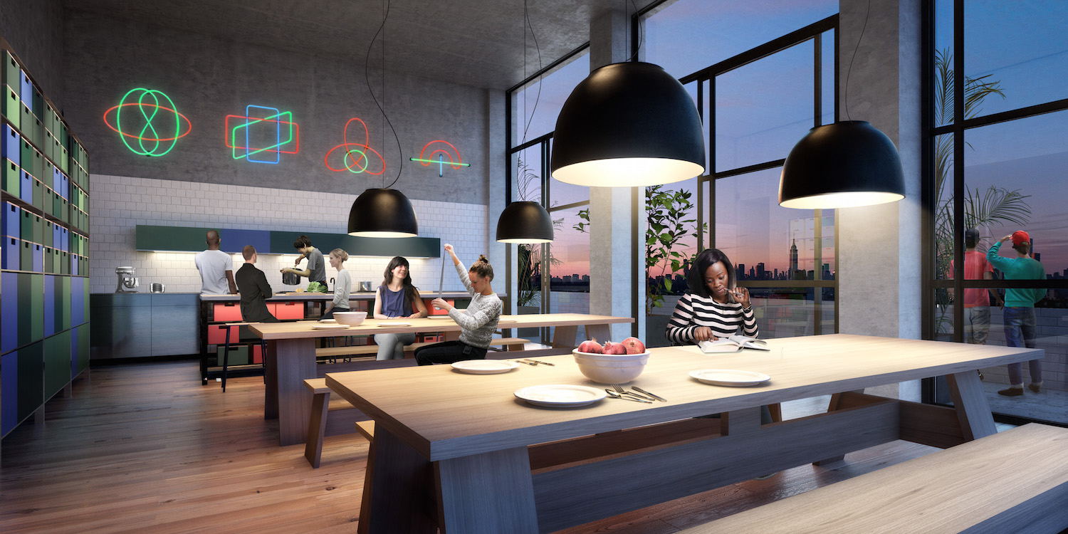 A communal kitchen at 292 North 8th Street, rendering by Macro Sea