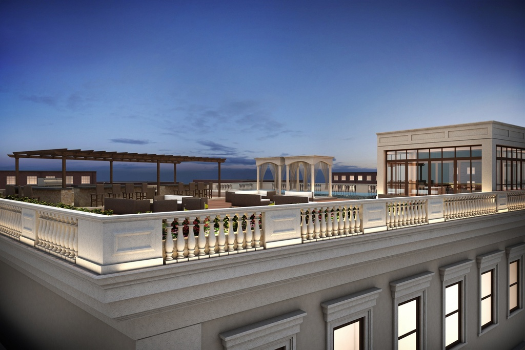 Rendering of the roof deck for the Cabrini Boulevard townhouses, via Nest Seekers