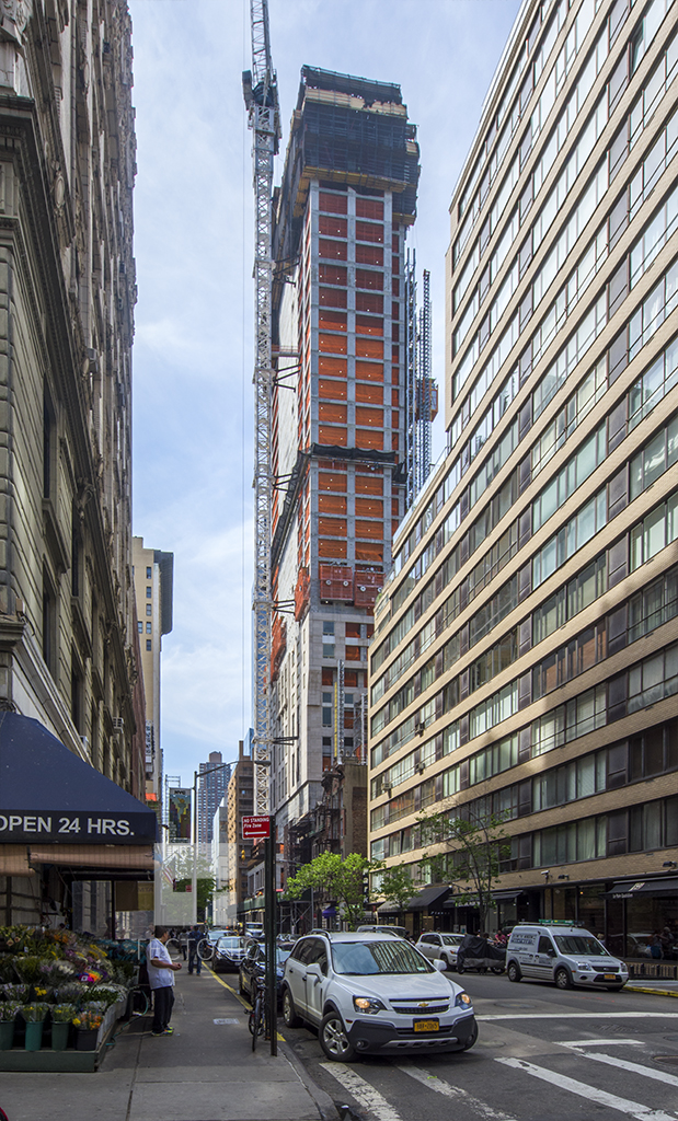 220 Central Park South as seen from West 58th Street. Photo by Tectonic for YIMBY