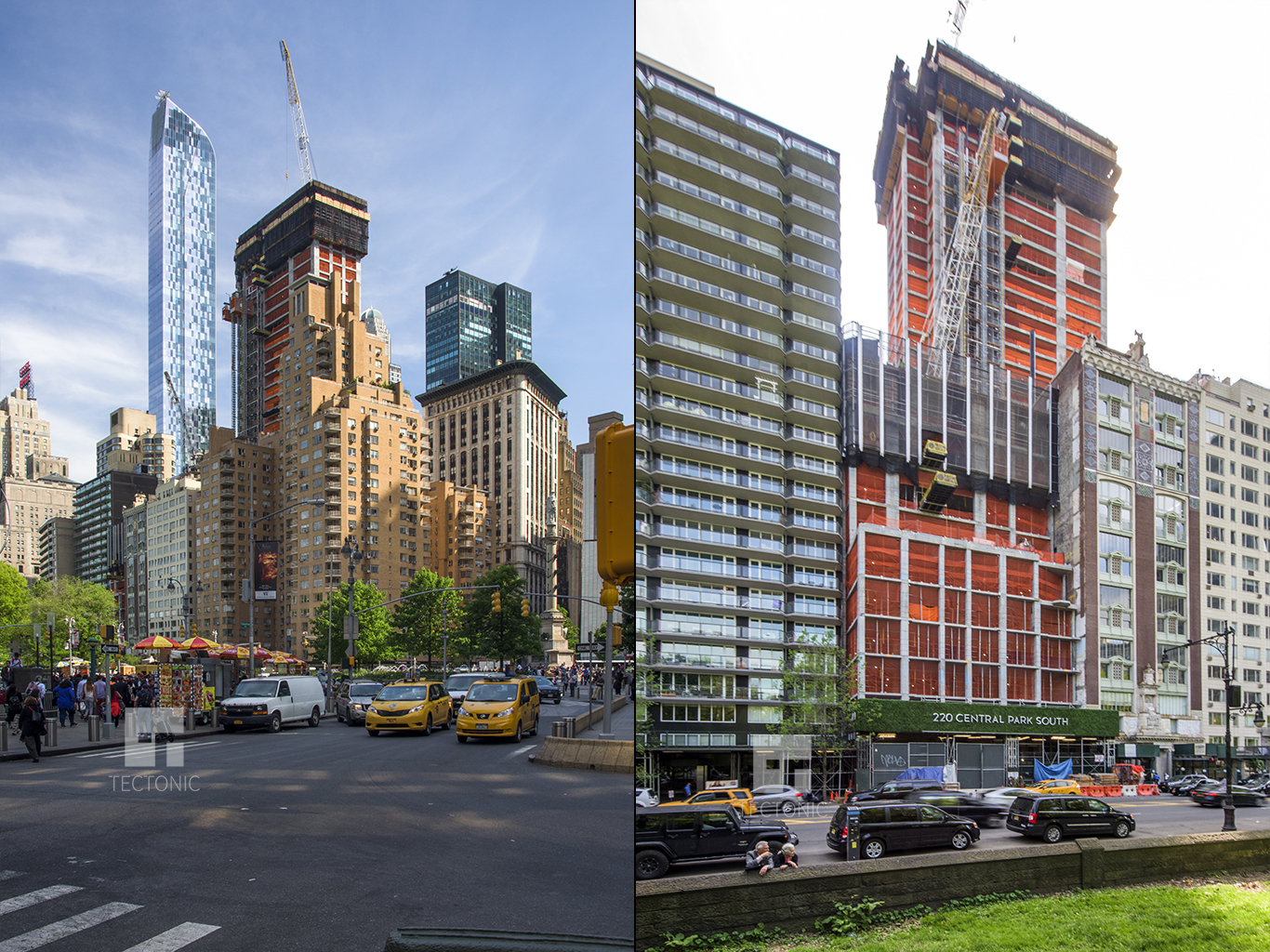 220 Central Park South, as seen from Columbus Circle and from Central Park. Photos by Tectonic for YIMBY
