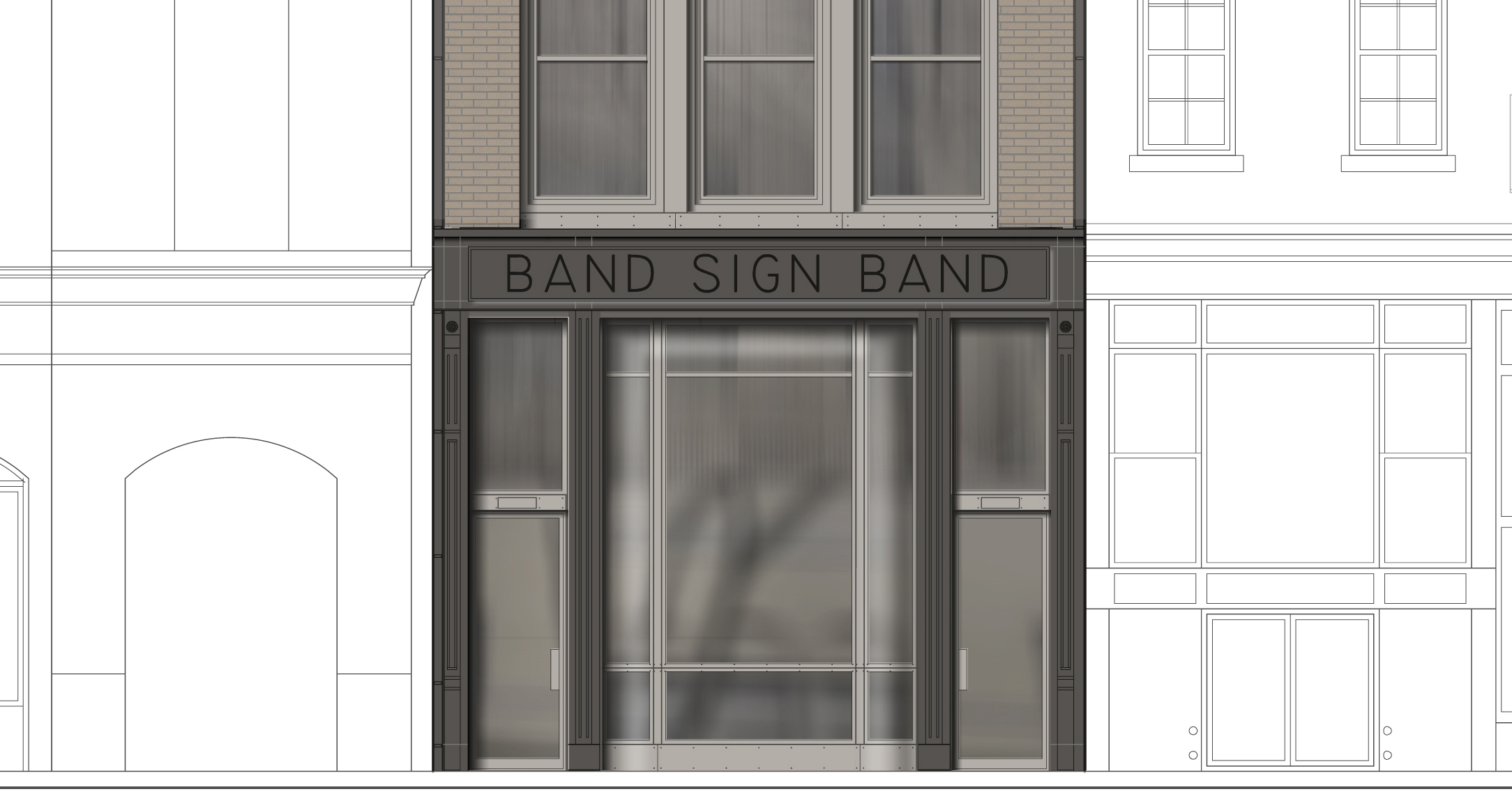Close-up rendering of the approved storefront for the new building at 25 Bleecker Street