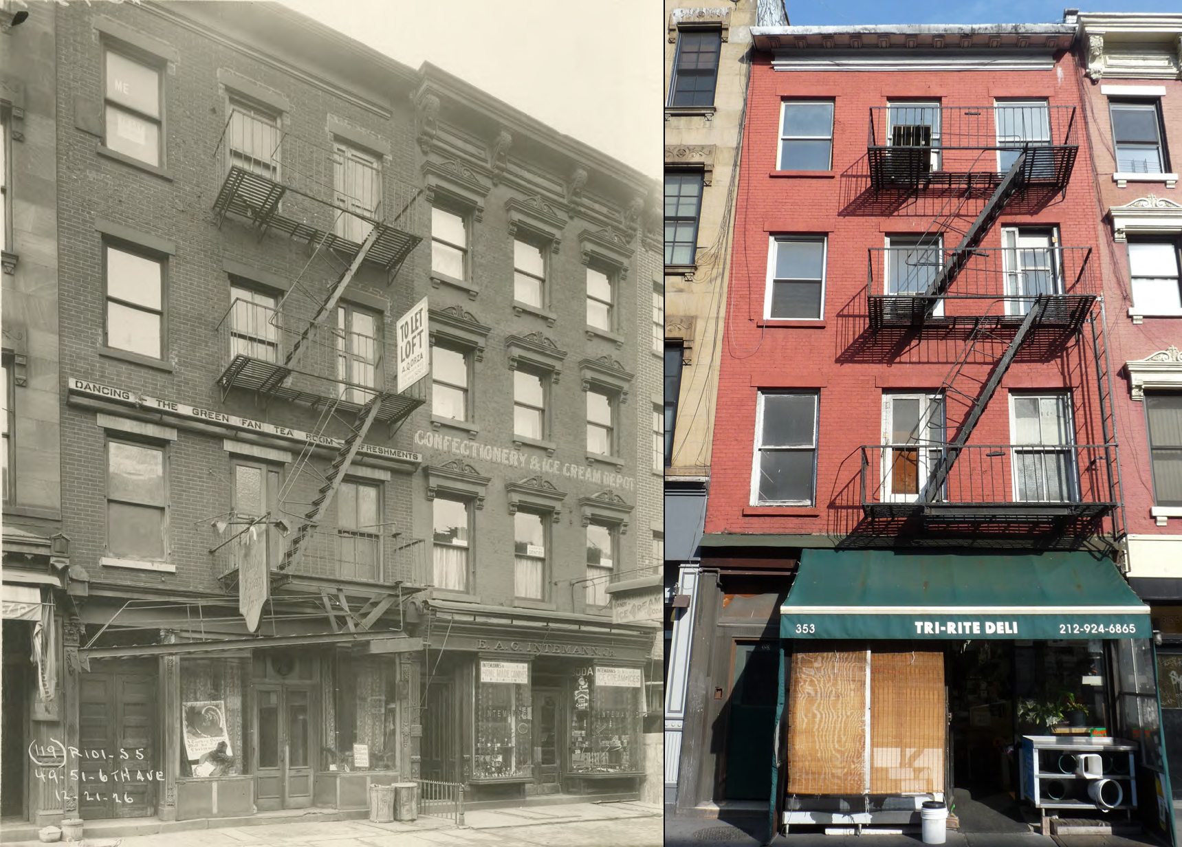 353 Sixth Avenue, 1926 and present