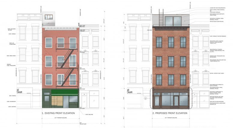 353 Sixth Avenue, existing and proposed front