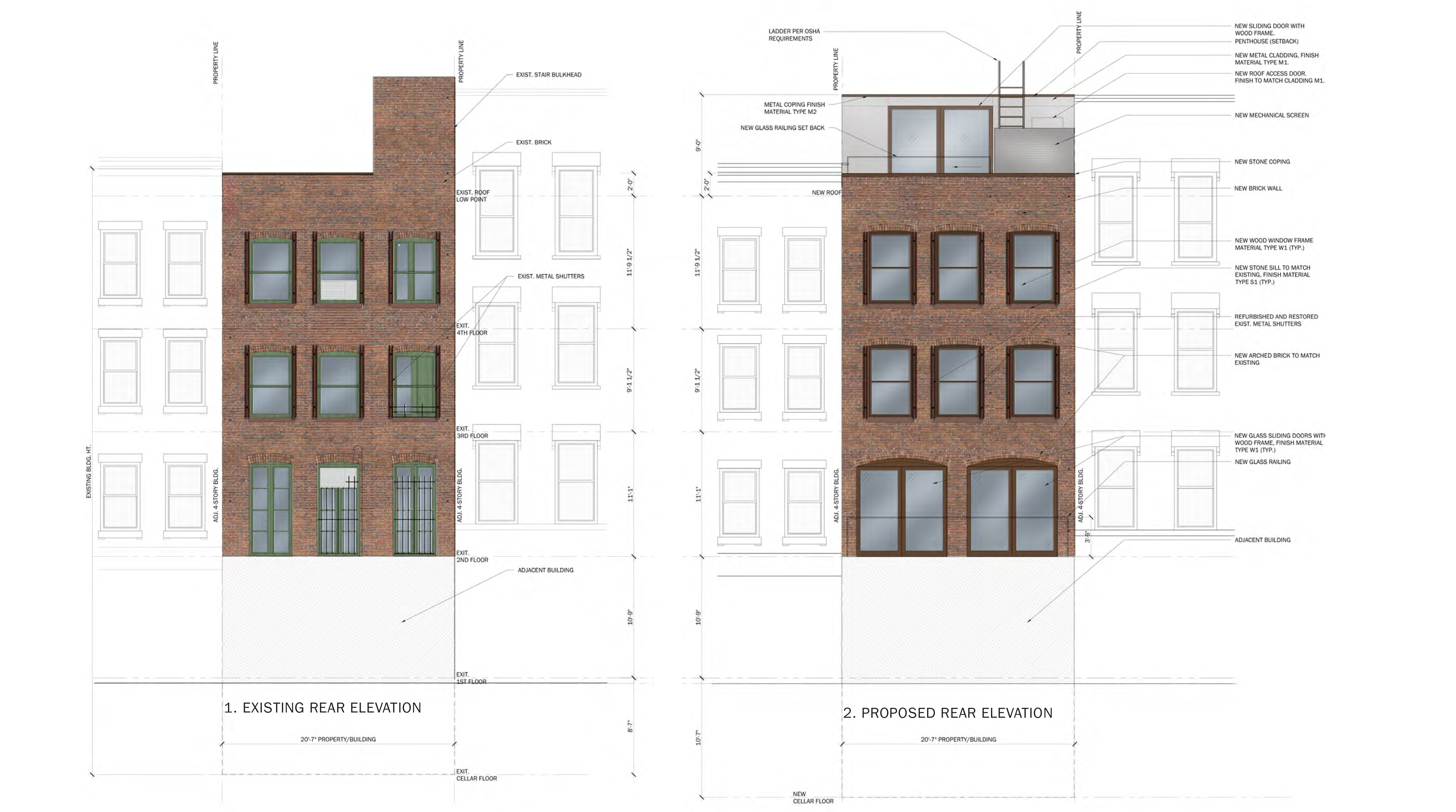 353 Sixth Avenue, existing and proposed rear