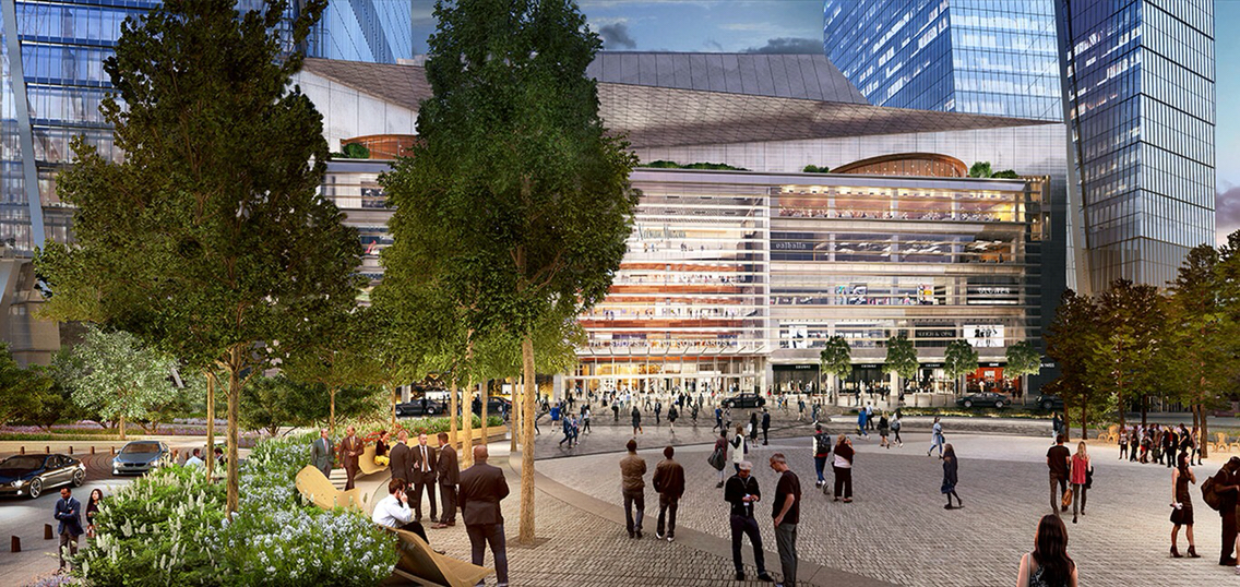 Rendering of open space and retail at Hudson Yards. Via Related