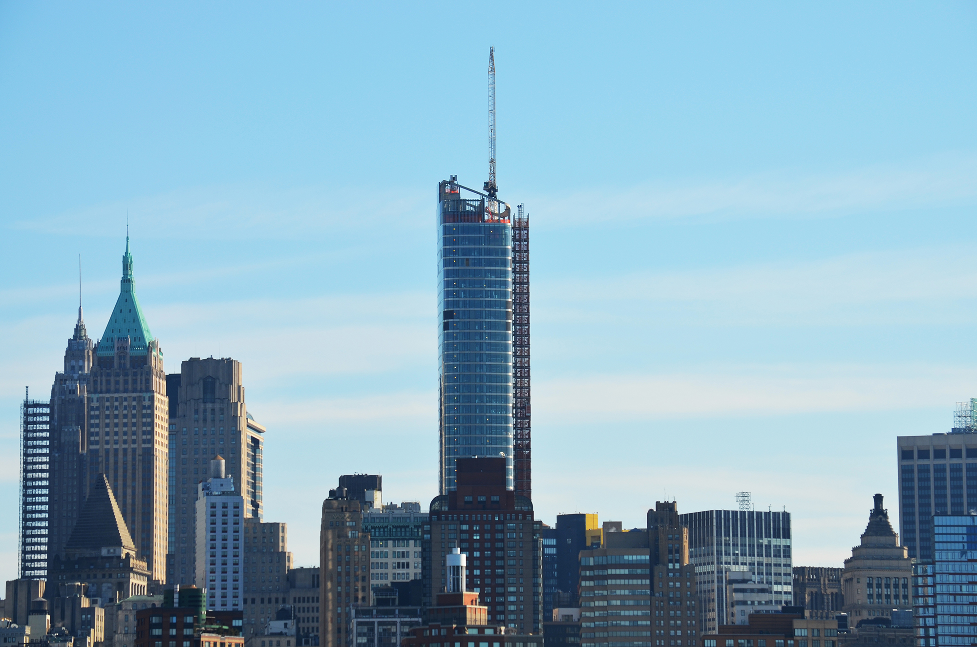 50 West Street as seen from Jersey City on January 28, 2016. Photo by Evan Bindelglass