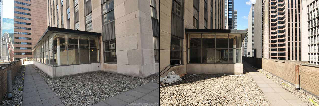 Current views of the 10th floor extension at 75 Rockefeller Plaza