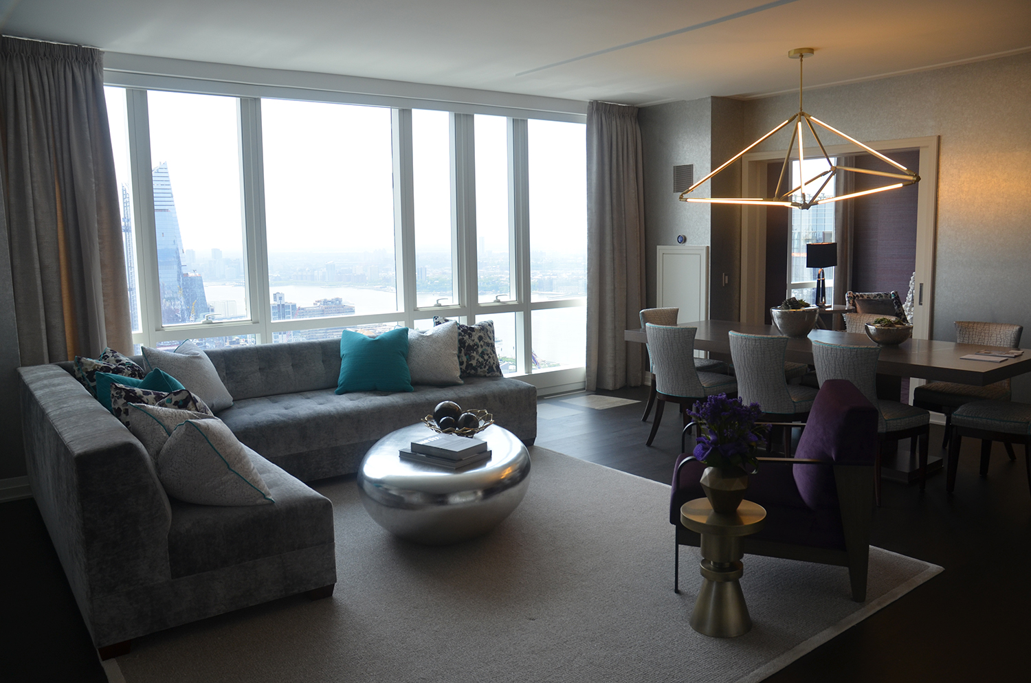 Living room in two-bedroom at Manhattan View at MiMA
