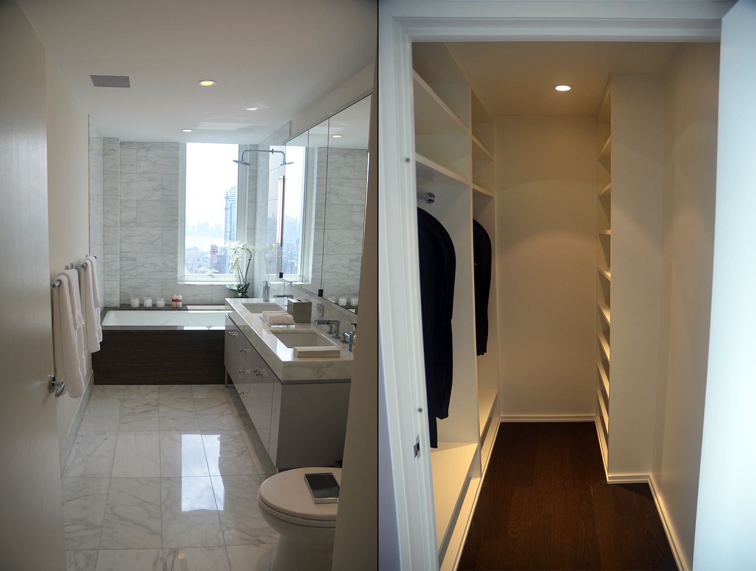 Bathroom and closet in a two-bedroom at Manhattan View at MiMA
