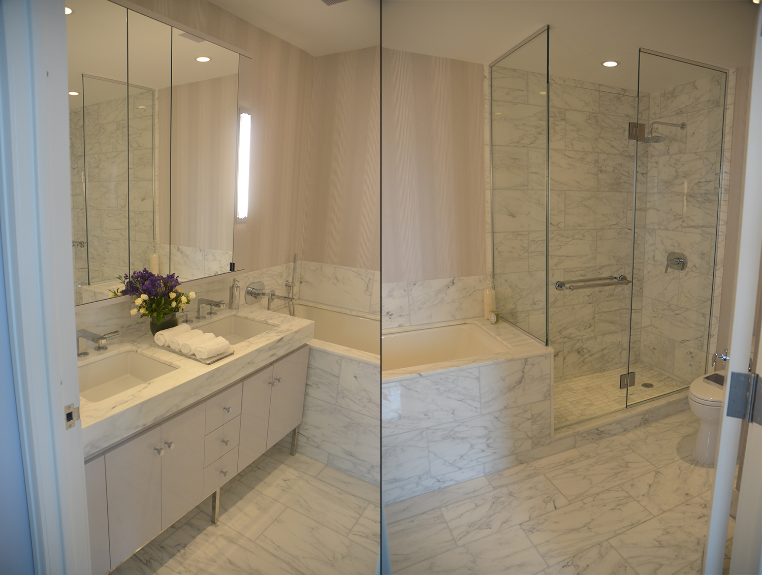 Master bathroom in a two-bedroom at Manhattan View at MiMA