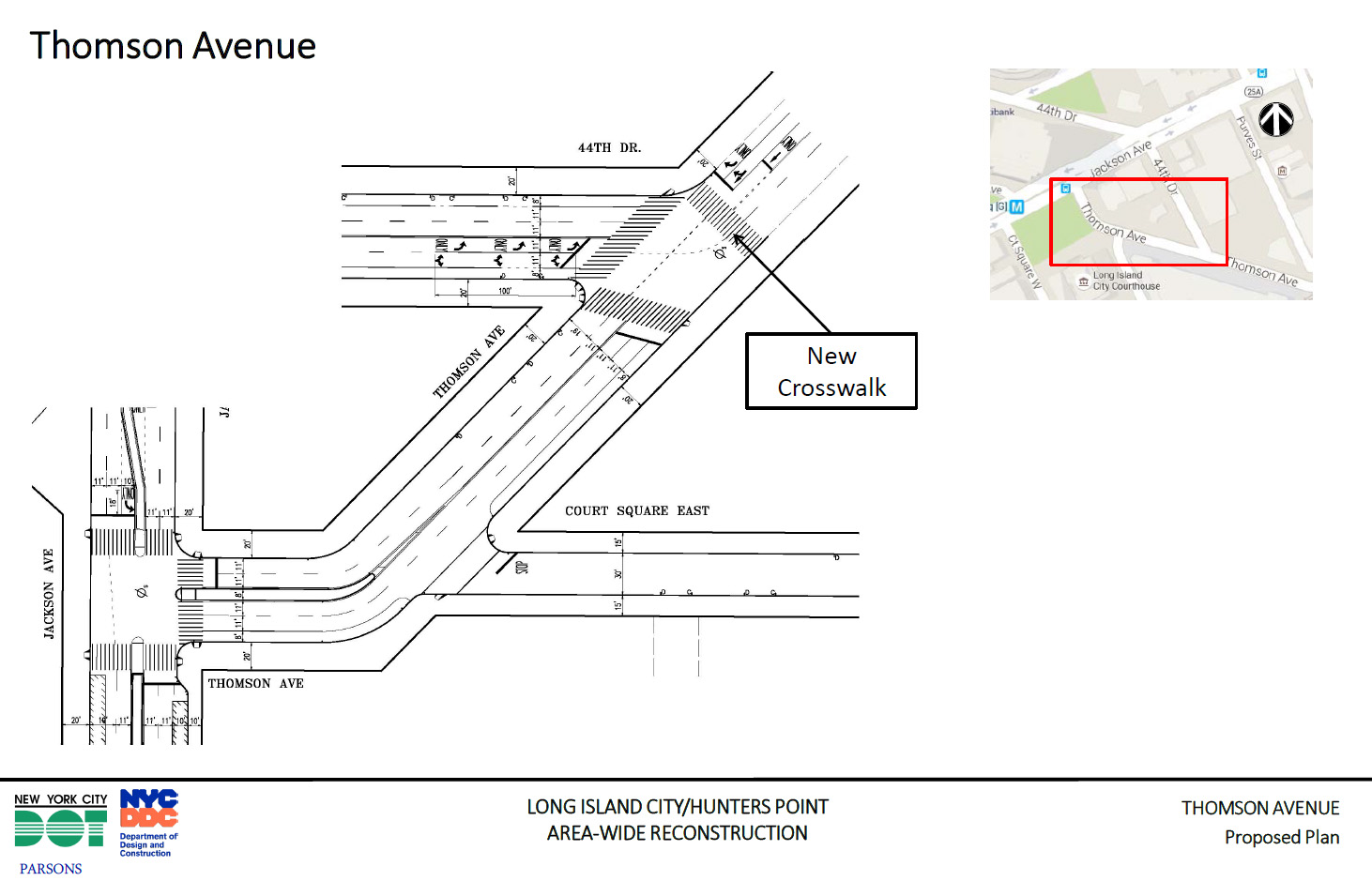 Street improvement at Thomson Ave and 44th Drive as proposed by the Department of Transportation. Source: NYCDOT, May 2016