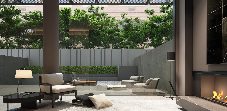 A ground floor courtyard at the Soori High Line.