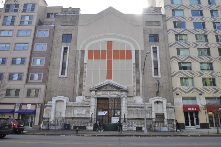 Harlem Baptist Temple Church at 20 West 116th Street in March 2014, photo by Christopher Bride for PropertyShark