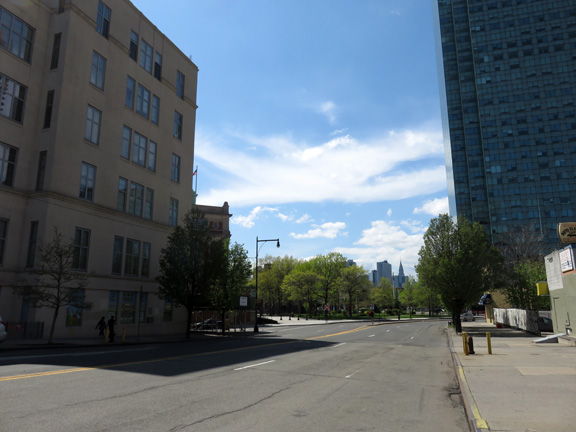 Looking west along Thomson Avenue. Area 6 on the left, Area 7 in the background center