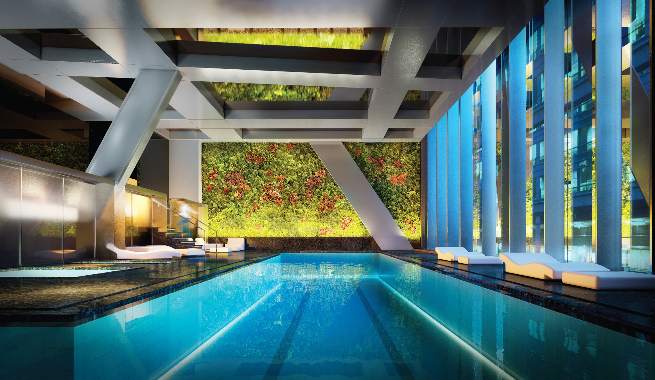 Rendering of the lap pool at 53W53