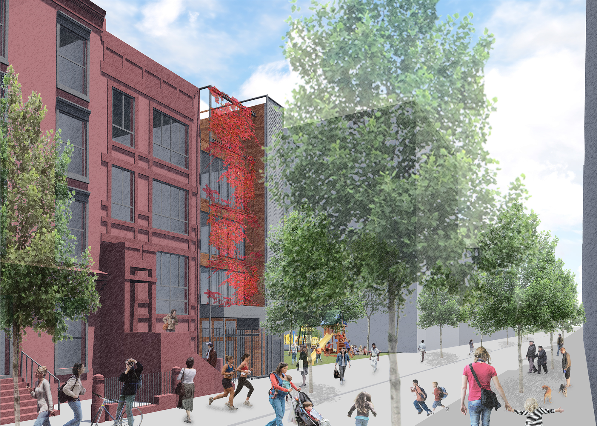 Proposal for 108 West 123rd Street, rendered with vegetation