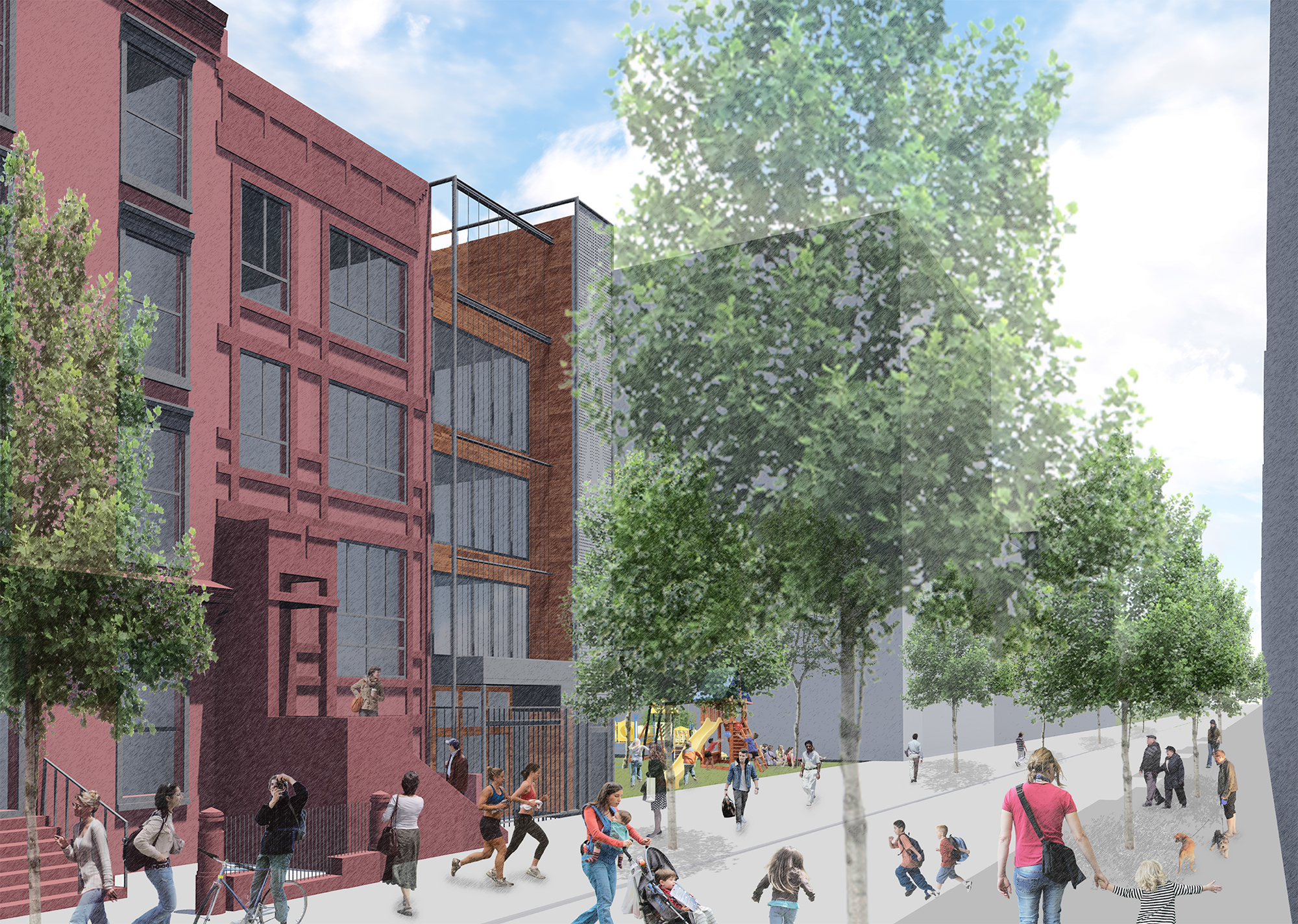 Proposal for 108 West 123rd Street, rendered without vegetation