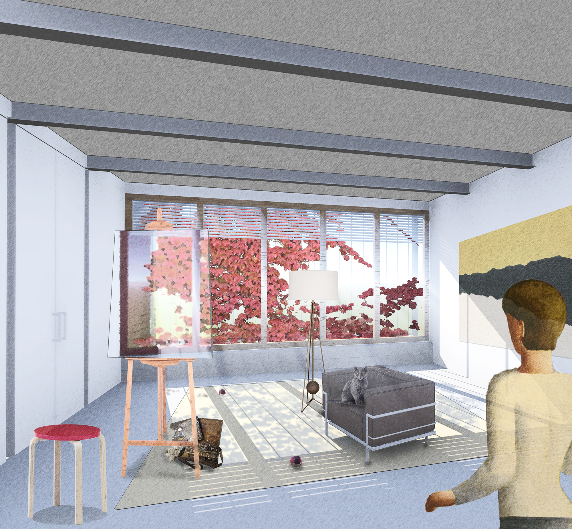 Proposed interior view at 108 West 123rd Street, showing the vegetation and effect on light