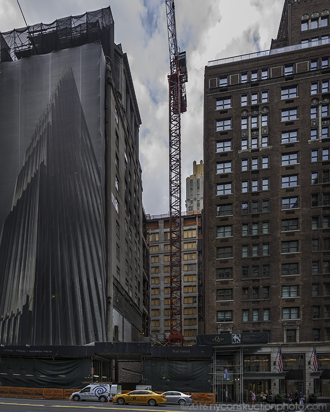 Construction at 111 West 57th Street. Photo by ILNY via YIMBY Forums