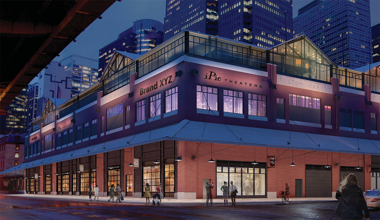 Proposal for Fulton Market Building, viewed from South and Beekman streets, night rendering