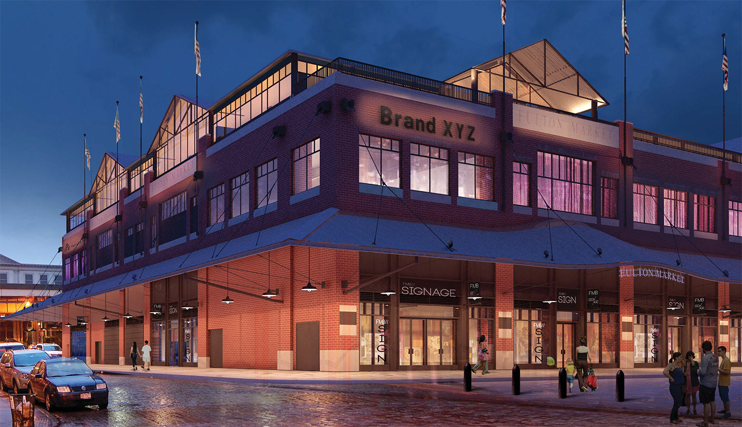Proposal for Fulton Market Building, viewed from Beekman and Front streets, night rendering