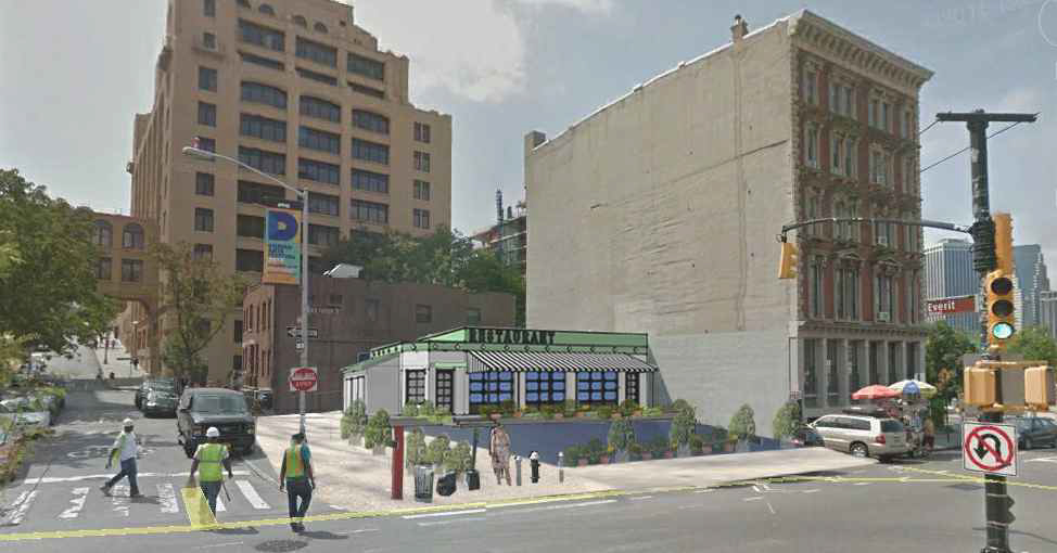 Rendering of proposed restaurant at 14 Old Fulton Street