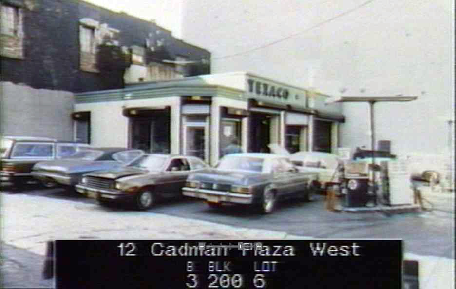 Historic image of the Texaco gas station at 14 Old Fulton Street