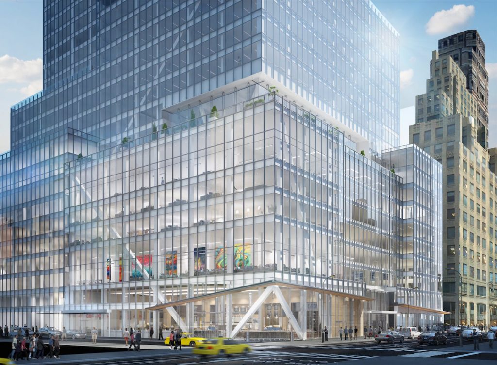 The double-height entrance and lower floors of 390 Madison, via L&L Holdings