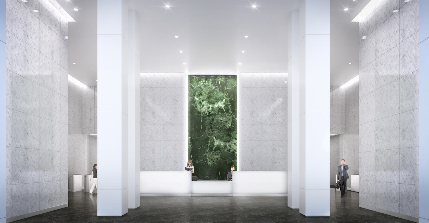 The lobby of 390 Madison Avenue. rendering via L&L Holding