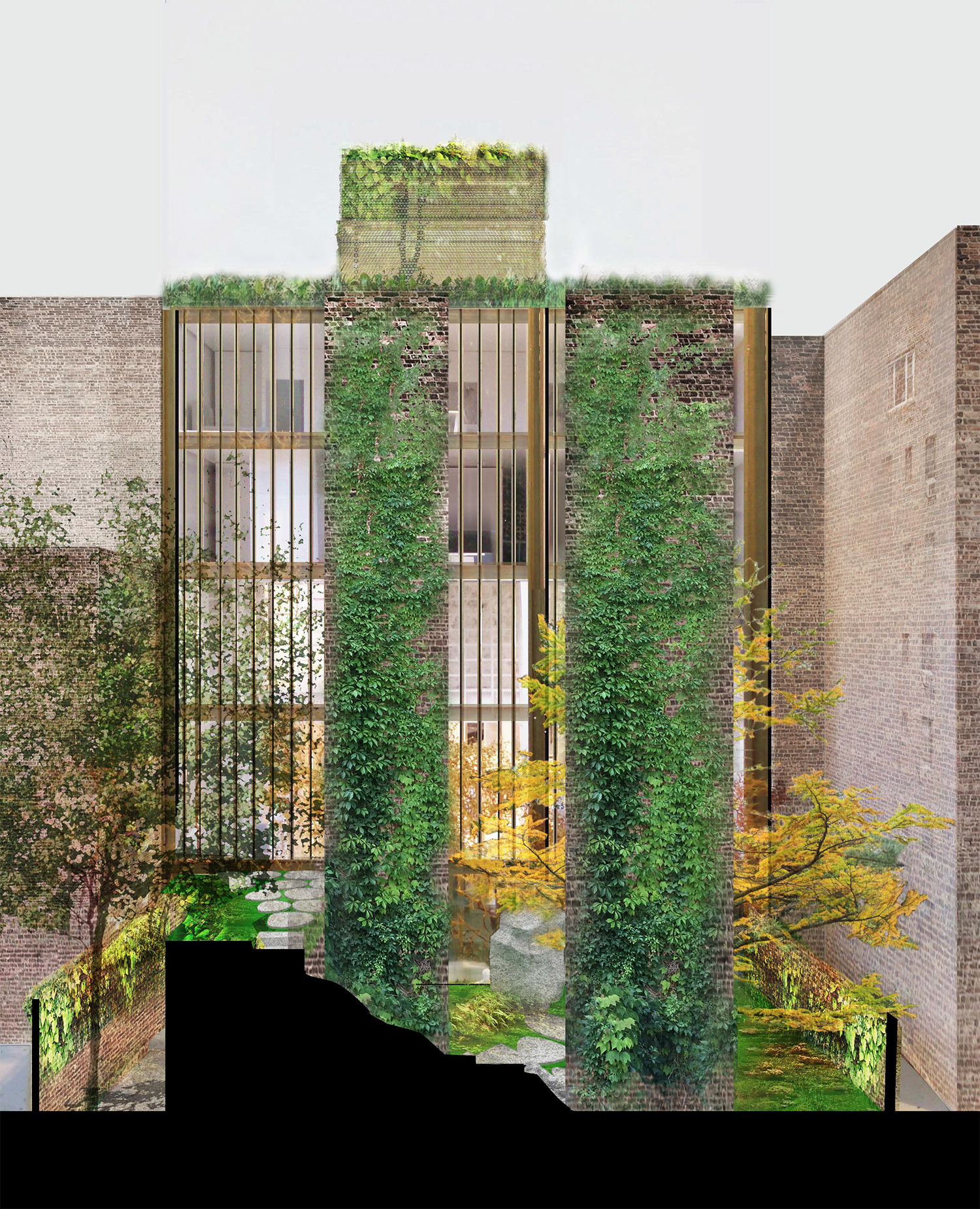 Proposed rear of 11-15 East 75th Street, rendering with vertical gardens