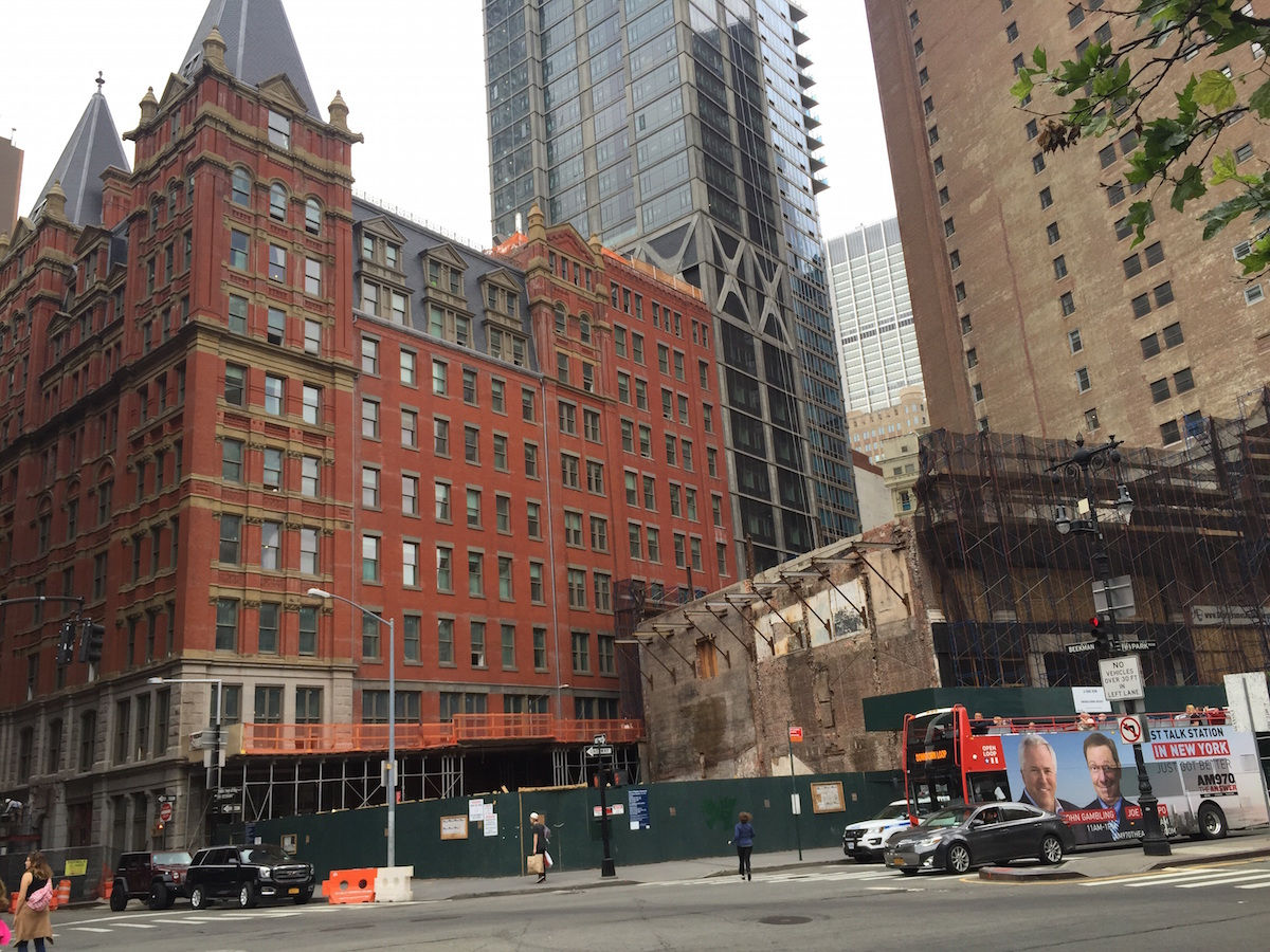 Demolition progress earlier this week at 23-33 Park Row. photo by YIMBY forum poster