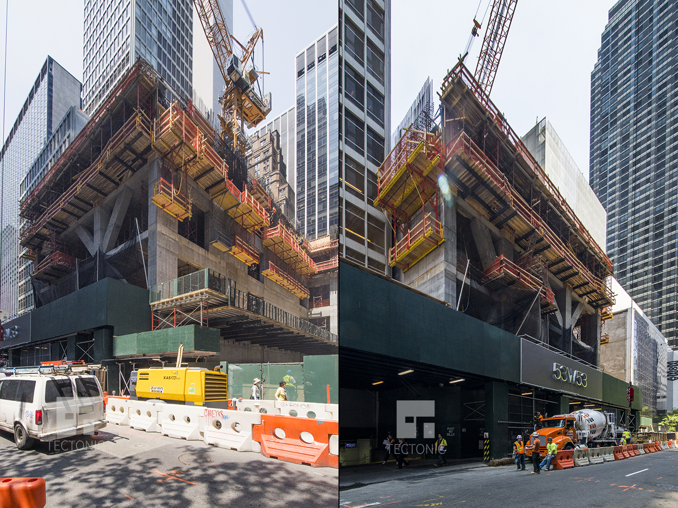 Construction at 53W53. Photos by Tectonic
