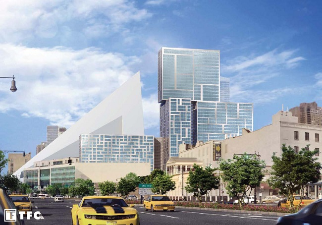 Rendering of 606 West 57th Street, as seen from the West Side Highway. Via TF Cornerstone